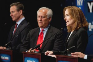 Democratic Attorney General hopeful Kathleen Rice, right, makes a point as fellow contenders Eric Schneiderman, left and Richard Brodsky listen during their debate in New York Tuesday, Sept. 7, 2010. The five candidates for the Democratic nomination for New York Attorney General participated in a televised debate in New York City. (AP Photo/Marcus Yam, Pool)