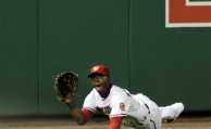 Washington Nationals left fielder Roger Bernadina catches a ball hit by Chicago Cubs Aramis Ramirez during the sixth inning of their baseball game at Nationals Park in Washington, Monday, Aug. 23, 2010. The Cubs beat the Nationals, 9-1. (AP Photo/Susan Walsh)
