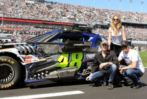 The Grand Marshals for the race included actors Josh Duhamel and Rosie Huntington-Whiteley along with Director Michael Bay, who had a pair of Transformer stock cars take a lap at the Daytona International Speedway in Daytona Beach, Fla. on February 20, 2011 (Kevin Kane)