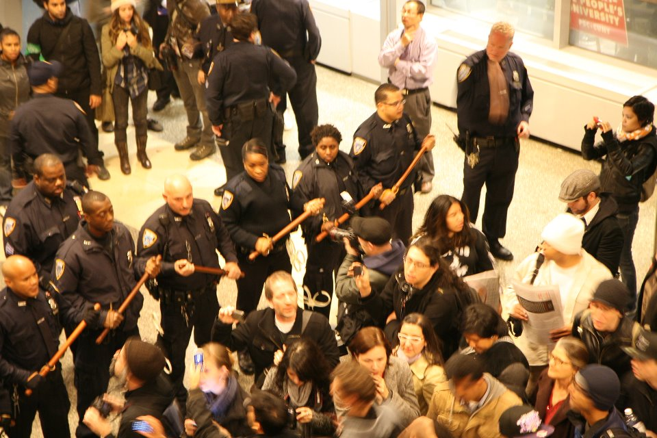 A photo of the protest taken by Baruch's student newspaper The Ticker (Photo: The Ticker/Facebook)