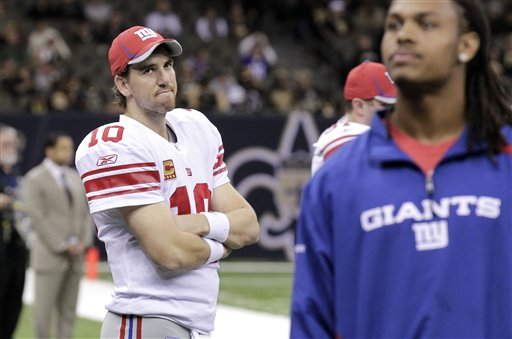 New York Giants quarterback Eli Manning (AP Photo/Bill Haber)