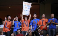 Fans cheer for New York Knicks point guard Jeremy Lin during the second half of an NBA basketball game against the Washington Wizards, Wednesday, Feb. 8, 2012, in Washington. The Knicks won 107-93. (AP Photo/Haraz N. Ghanbari)