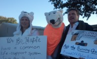 Global warming activists outside Hofstra Presidential Debate