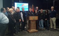 Nassau County Executive Ed Mangano during a Hurricane Sandy press conference at Nassau County Office of Emergency Management's headquarters in Bethpage on Sunday, Oct. 21, 2012.