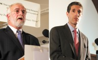 Rep. Tim Bishop, the incumbent Democrat from the East End (LEFT), is locked in a tight race with Randy Altschuler (RIGHT). their first debate took place at the First Baptist Church in Riverhead, where the tone was civil compared to the rancor of their tv ads. (Dan O'Regan/Long Island Press)