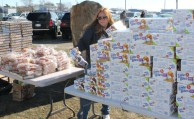 Entenmann's Bakery donated piles of freshly baked goods for Lindenhurst residents at the Nov. 4 drive.