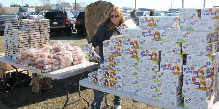 Entenmann's Bakery donated piles of freshly baked goods for Lindenhurst residents at the Nov. 4 drive.